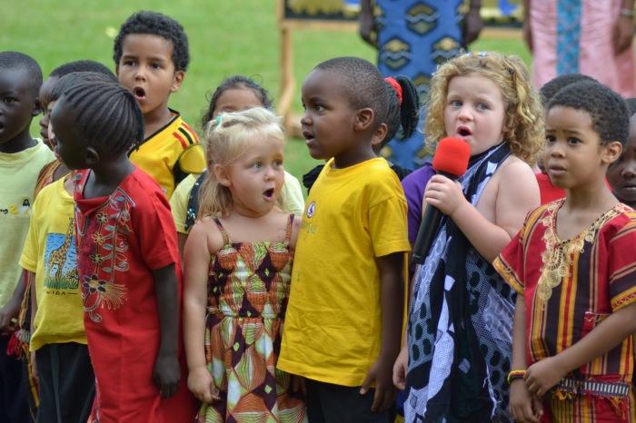 Primary school kids singing