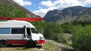 Red Squirrel campsite Glencoe living in a hiace camper van